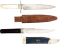 Edged Weapons:Knives, Lot of Two Assorted Antique Bowie Knives with Scabbards. ... (Total: 2 Items)