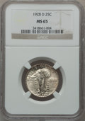 Standing Liberty Quarters: , 1928-D 25C MS65 NGC. NGC Census: (401/114). PCGS Population(568/78). Mintage: 1,627,600. Numismedia Wsl. Price for problem...