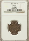 Two Cent Pieces, 1867 2C Doubled Die Obverse, FS-101 VF25 NGC. NGC Census: (0/0).PCGS Population (3/58)....