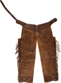 Western Expansion, Pair of Antique Western Shotgun Chaps by the B Leather Company....