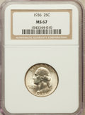 Washington Quarters: , 1936 25C MS67 NGC. NGC Census: (90/1). PCGS Population (61/0).Mintage: 41,303,836. Numismedia Wsl. Price for problem free ...