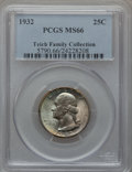 Washington Quarters: , 1932 25C MS66 PCGS. PCGS Population (172/2). NGC Census: (90/2).Mintage: 5,404,000. Numismedia Wsl. Price for problem free...