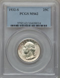 Washington Quarters: , 1932-S 25C MS62 PCGS. PCGS Population (546/2088). NGC Census:(479/1173). Mintage: 408,000. Numismedia Wsl. Price for probl...