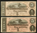Confederate Notes:1864 Issues, T69 $5 1864 PF-8 Cr. 562 Two Examples.. ... (Total: 2 notes)