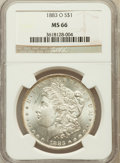 Morgan Dollars: , 1883-O $1 MS66 NGC. NGC Census: (982/33). PCGS Population (701/35).Mintage: 8,725,000. Numismedia Wsl. Price for problem f...