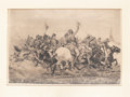 "Antique Stone Lithography, William Trego: ""The Pell Mell Charge"" Print...."
