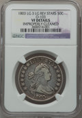 Early Half Dollars, 1803 50C Large 3, Large Reverse Stars, O-103 -- Improperly Cleaned-- NGC Details. VF. NGC Census: (19/1009). PCGS Populati...