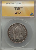 Early Half Dollars, 1806 50C Pointed 6, Stem, O-115, R.1 VF30 ANACS. PCGS Population(0/6). ...