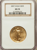 Modern Bullion Coins, 2007 $25 Half-Ounce Gold Eagle MS70 NGC. NGC Census: (5698). PCGSPopulation (14). Numismedia Wsl. Price for problem free ...
