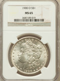 Morgan Dollars: , 1900-O $1 MS65 NGC. NGC Census: (6524/1042). PCGS Population(5846/955). Mintage: 12,590,000. Numismedia Wsl. Price for pro...