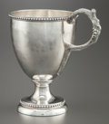 Silver & Vertu:Hollowware, AN AMERICAN COIN SILVER FOOTED CUP . Maker unknown, circa 1850. Marks: Unmarked . 5-5/8 x 5-1/4 x 3-3/4 inches (14.3 x 13.3 ...