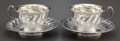Silver & Vertu:Hollowware, A PAIR OF FRENCH SILVER AND SILVER GILT CUPS WITH SAUCERS . Maker unidentified, Paris, France, circa 1890. Marks: (Minerva),... (Total: 4 )
