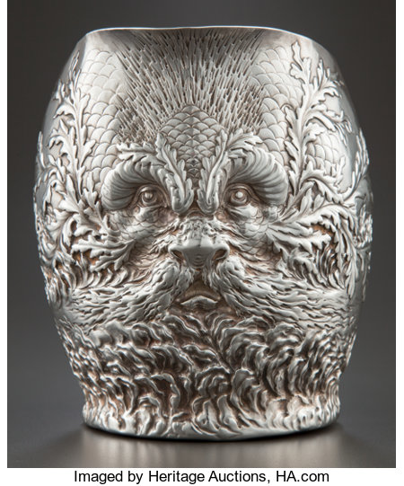 A GORHAM SILVER REPOUSSÉ WATER PITCHER  Gorham Manufacturing Co., Providence, Rhode Island, circa 1887 Marks: (lion-anchor...