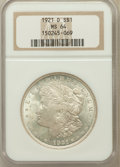 Morgan Dollars: , 1921-D $1 MS64 NGC. NGC Census: (5572/2217). PCGS Population(4928/1756). Mintage: 20,345,000. Numismedia Wsl. Price for pr...