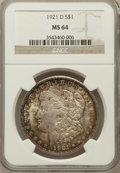 Morgan Dollars: , 1921-D $1 MS64 NGC. NGC Census: (5600/2226). PCGS Population(4939/1759). Mintage: 20,345,000. Numismedia Wsl. Price for pr...