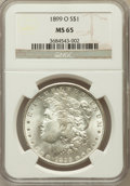 Morgan Dollars: , 1899-O $1 MS65 NGC. NGC Census: (7417/1188). PCGS Population(7260/1306). Mintage: 12,290,000. Numismedia Wsl. Price for pr...