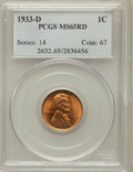 Lincoln Cents: , 1933-D 1C MS65 Red PCGS. PCGS Population (673/346). NGC Census:(307/328). Mintage: 6,200,000. Numismedia Wsl. Price for pr...