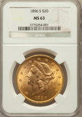 Liberty Double Eagles: , 1896-S $20 MS63 NGC. NGC Census: (777/123). PCGS Population(1021/155). Mintage: 1,403,925. Numismedia Wsl. Price for probl...