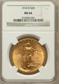 Saint-Gaudens Double Eagles: , 1910-D $20 MS64 NGC. NGC Census: (1746/479). PCGS Population(1963/1106). Mintage: 429,000. Numismedia Wsl. Price for probl...