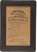 Advertising:Paper Items, Framed Reproduction Colt Patent Fire Arms Reduced Prices 1859Advertisement....