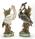Ceramics & Porcelain, A FRENCH MAJOLICA FIGURAL HERON FLOOR VASE TOGETHER WITH A REPRODUCTION STORK VASE. Circa 1900 (heron), later reproduction (... (Total: 2 Items)