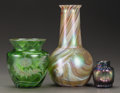 Art Glass:Other , THREE AUSTRIAN GLASS CABINET VASES. 20th century. 8 inches high(20.3 cm) (tallest). ... (Total: 3 Items)