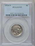 Buffalo Nickels: , 1924-S 5C Fine 15 PCGS. PCGS Population (153/735). NGC Census:(112/533). Mintage: 1,437,000. Numismedia Wsl. Price for pro...