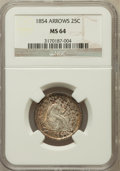 Seated Quarters, 1854 25C Arrows MS64 NGC....