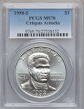Modern Issues: , 1998-S $1 Black Patriots Silver Dollar MS70 PCGS. PCGS Population(197). NGC Census: (272). Numismedia Wsl. Price for prob...