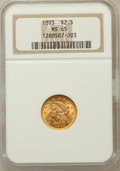 Liberty Quarter Eagles, 1893 $2 1/2 MS65 NGC....