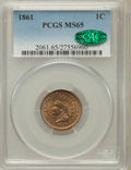 Indian Cents, 1861 1C MS65 PCGS. CAC....