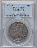 Bust Half Dollars: , 1820/19 50C Curl Base 2 VF30 PCGS. PCGS Population (10/96). ...