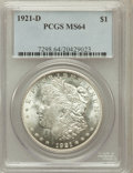Morgan Dollars: , 1921-D $1 MS64 PCGS. PCGS Population (4928/1756). NGC Census:(5572/2217). Mintage: 20,345,000. Numismedia Wsl. Price for p...