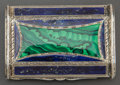 Silver Smalls:Other , A CONTINENTAL SILVER, SILVER GILT, MALACHITE AND LAPIS CARD CASE .Maker unknown, circa 1910. Marks: 800. 3 inches long ...