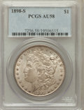 Morgan Dollars: , 1898-S $1 AU58 PCGS. PCGS Population (282/3442). NGC Census:(301/1871). Mintage: 4,102,000. Numismedia Wsl. Price for prob...