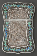 Silver Smalls:Other , A CHINESE EXPORT SILVER FILIGREE AND ENAMEL CARD CASE . Makerunknown, China, circa 1910. Marks: Unmarked . 4 inches long x ...