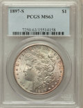 Morgan Dollars: , 1897-S $1 MS63 PCGS. PCGS Population (2822/4197). NGC Census:(1901/3039). Mintage: 5,825,000. Numismedia Wsl. Price for pr...