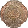 Colonials, 1787 1C Fugio Cent, New Haven Restrike, Copper MS66 Brown NGC.Newman-104-FF, W-17560....