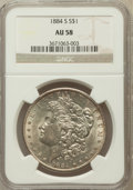 Morgan Dollars: , 1884-S $1 AU58 NGC. NGC Census: (1565/396). PCGS Population(817/279). Mintage: 3,200,000. Numismedia Wsl. Price for proble...