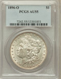 Morgan Dollars: , 1896-O $1 AU55 PCGS. PCGS Population (903/2323). NGC Census:(917/2672). Mintage: 4,900,000. Numismedia Wsl. Price for prob...