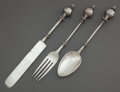 Silver Flatware, American:George Sharp, A THREE-PIECE GEORGE B. SHARP SILVER CHILD'S FLATWARE SET. GeorgeB. Sharp, Philadelphia, Pennsylvania, circa 1910. Marks:... (Total:3 )