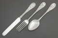 Silver Flatware, American:Tiffany, A THREE-PIECE TIFFANY & CO. JAPANESE PATTERN CHILD'SSILVER FLATWARE SET. Tiffany & Co., New York, New York, des...(Total: 3 )