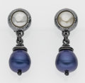 Luxury Accessories:Accessories, Yves Saint Laurent Silver Rive Gauche Pearl-Like Clip-On Earringswith Blue Pendants. ...