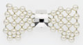 Luxury Accessories:Accessories, Sonia Rykiel Silver, Pearl-Like Motifs & Crystal Bow Pin. ...