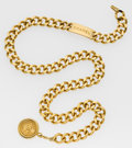 Luxury Accessories:Accessories, Chanel Gold Chain Belt with CC Medallion. ...