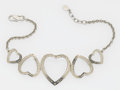 "Luxury Accessories:Accessories, Sonia Rykiel Silver ""Amour, Bonheur"" Heart Motif Choker Necklace...."
