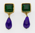 Luxury Accessories:Accessories, Chanel Gold, Green, & Blue Gripoix Clip-On Earrings. ...