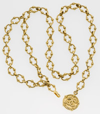Chanel Gold Chain Belt with Large CC Pendant