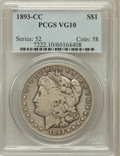 Morgan Dollars: , 1893-CC $1 VG10 PCGS. PCGS Population (209/5262). NGC Census:(95/2889). Mintage: 677,000. Numismedia Wsl. Price for proble...