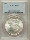 Morgan Dollars: , 1891 $1 MS63 PCGS. PCGS Population (2935/1874). NGC Census:(2208/1284). Mintage: 8,694,206. Numismedia Wsl. Price for prob...